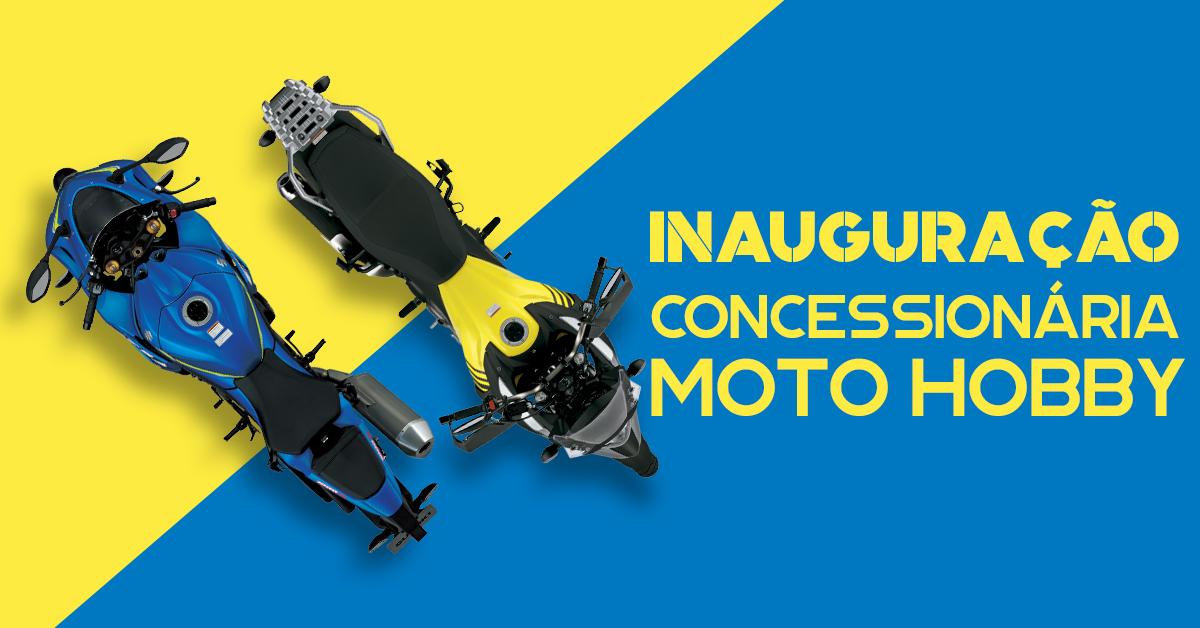 Foto que ilustra a inauguração da Moto Hobby com motos da Suzuki.