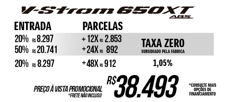 Preço promocional da V-Strom 650 XT nova ou taxa zero