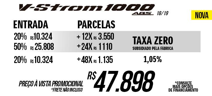 Preço da nova V-Strom 1000 A nova promocional a vista ou taxa zero