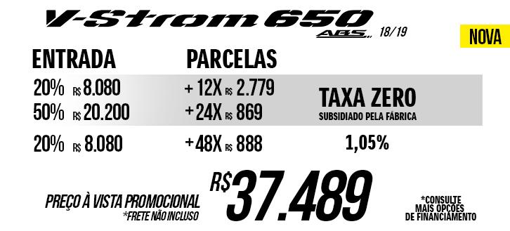 Preço da V-Strom 650 A nova promocional a vista ou taxa zero